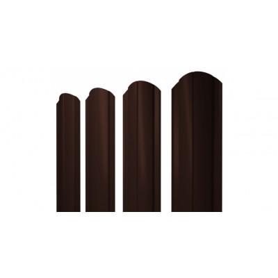 Штакетник Круглый фигурный 0,45 PE RAL 8017 шоколад